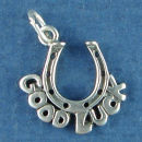 Good Luck Horseshoe Charm Word Phrase Sterling Silver Pendant