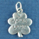 Good Luck Clover Charm Word Phrase Sterling Silver 3D Pendant