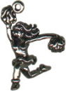 Cheerleader with Pom Poms 3D Sterling Silver Charm Pendant