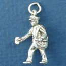 Postman and Mailman Occupation 3D Sterling Silver Charm Pendant