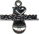 Basketball, I Love Sports Sterling Silver Charm Pendant