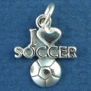 Soccer, I Love with Heart and Soccer Ball Word Sterling Silver Charm for Bracelet