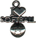 Softball, I Love Sports Sterling Silver Charm Pendant
