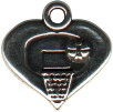 Heart I Love Basketball Charm Sterling Silver
