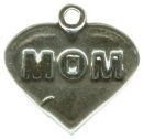 Heart Mom Charm Sterling Silver