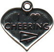 Heart I Love Cheering Charm Sterling Silver