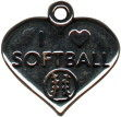 Heart I Love Softball Charm Sterling Silver