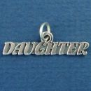 Daughter Word Phrase Sterling Silver Charm Pendant