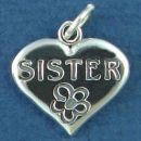Sister Word Phrase on Sterling Silver Heart Charm Pendant with Flower Accent