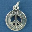 World Peace Word Phrase on Peace Sign Symbol Sterling Silver Charm for Bracelet or Necklace