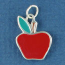 School Teachers Apple in Red Enamel Sterling Silver Charm Pendant