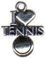 "Tennis, I Love ""Heart"" and Tennis Ball Sports Sterling Silver Charm for Bracelet"