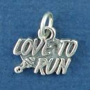 Love to Run Word Phrase and Track Shoe Print Sterling Silver Charm Pendant Great for Marathon Runners