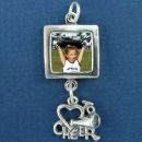 Square Photo Charm Sterling Silver with Loop on Bottom to add a Charm Dangle (Cheer sold Separate)