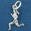 Jogger Running a Marathon Female Small 3D Sports Sterling Silver Charm Pendant