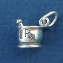 R/X Mortar and Pestle Pharmacy Occupation 3D Sterling Silver Charm Pendant