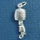 Professional Radio Microphone for Singing and Music 3D Sterling Silver Charm Pendant