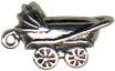 Baby Carriage 3D Sterling Silver Charm Pendant