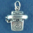 Telephone 3D Sterling Silver Charm Pendant