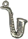 Music: Saxophone 3D Sterling Silver Charm Pendant