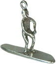 Surfer Riding Surfboard Charm Sterling Silver 3D for Bracelet or Necklace