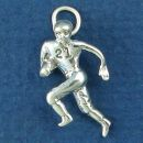Football Player Running with a Football 3D Sterling Silver Charm Pendant