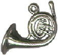Music: French Horn 3D Sterling Silver Charm Pendant