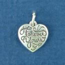 Heart with Word Phrase Forever Yours Sterling Silver Charm Pendant