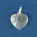 Heart with Word Phrase Forever Mine Sterling Silver Charm Pendant