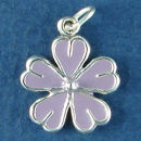 Flower, Daisy with Purple Enamel Sterling Silver Charm Pendant