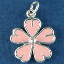 Flower, Daisy with Pink Enamel Sterling Silver Charm Pendant