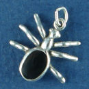 Spider Insect with Black Enamel Sterling Silver Charm Pendant