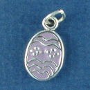 Easter Egg with Purple Enamel Sterling Silver Charm Pendant