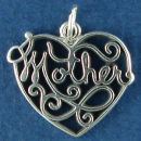 Heart Lace Cut Out Design with Word Phrase Mother Sterling Silver Charm Pendant