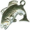 Fish: Black Bass 3D Sterling Silver Charm Pendant