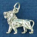 Lion African 3D Sterling Silver Charm Pendant