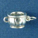 Sugar Bowl for Coffee or Tea 3D Sterling Silver Charm Pendant