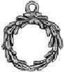 Christmas Wreath 3D Sterling Silver Charm Pendant