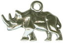 Rhinoceros 3D Sterling Silver Charm Pendant