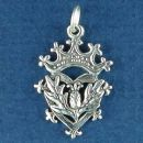 Celtic Symbol with Thistle, Heart and Crown Sterling Silver Charm Pendant