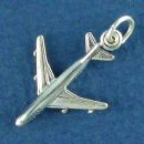 Airplane Charm Sterling Silver Pendant 3D Jetliner