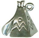 Indian Teepee 3D Sterling Silver Indian Charm Pendant