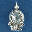 Baseball with Word Phrase Baseball Mom Sterling Silver Charm Pendant