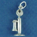 Telephone, Antique 3D Sterling Silver Charm Pendant