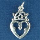 Celtic Symbol with Heart and Crown Sterling Silver Charm Pendant