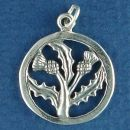 Celtic Thistle in a Ring Sterling Silver Charm Pendant