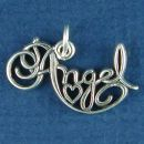 Word Angel Charm Sterling Silver Pendant