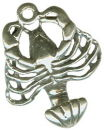 Lobster with Curved Tail 3D Sterling Silver Charm Pendant