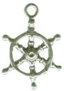Ship's Wheel Nautical 3D Sterling Silver Charm Pendant