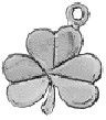 Shamrock Charm Lucky Irish 3D Sterling Silver Charm Pendant
